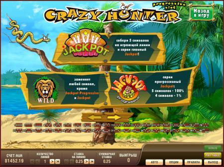 Игровые автоматы Crazy Hunter Progressive